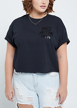 Plus No After Party Raw Edge Crop Tee