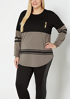 Plus Don't Care 2-Tone Sweatshirt