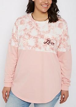Plus Love Tie Dye Drop Yoke Sweatshirt