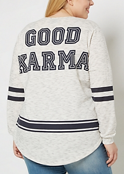 Plus Good Karma Space Dyed Football Sweatshirt