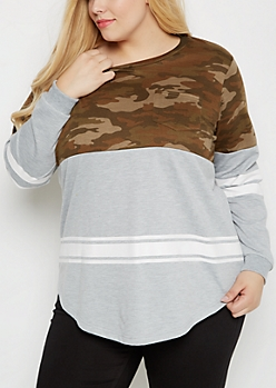 Plus Camo Print Blocked Football Sweatshirt