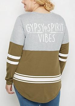 Plus Gypsy Spirit Vibes Football Sweatshirt