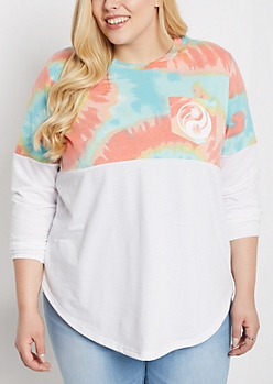 Plus Tie-Dye Palm Yin-Yang Sweatshirt
