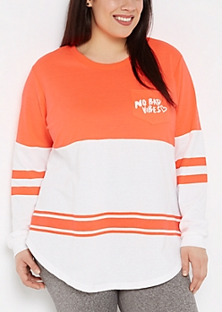 Plus No Bad Vibes Neon Football Sweatshirt
