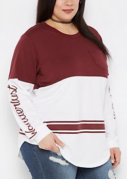 Plus Wanderlust Football Sweatshirt