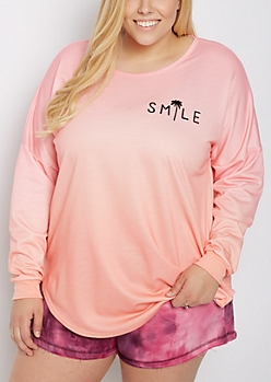 Plus Smile Cutout Drop Yoke Top