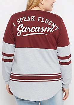 Plus Fluent Sarcasm Drop Yoke Sweatshirt