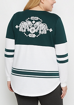Plus Elephant Tribal Drop Yoke Sweatshirt