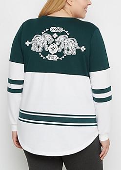 Plus Elephant Tribal Drop Yoke Sweatshirt