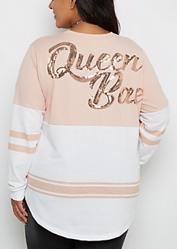 Plus Queen Bae Sequined Drop Yoke Sweatshirt