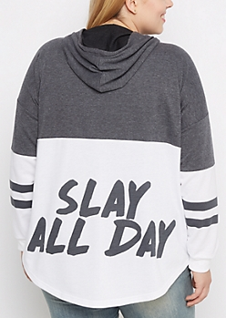 Plus Slay All Day Color Blocked Hoodie
