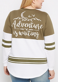 Plus Adventure Is Waiting Drop Yoke Sweatshirt