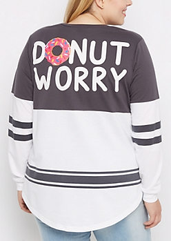 Plus Gray Donut Worry Drop Yoke Sweatshirt