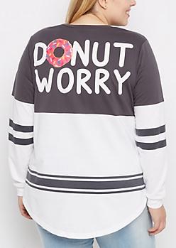 Plus Gray Donut Worry Drop Yoke Sweatshirt