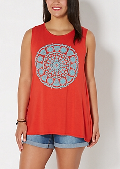 Plus Burnt Orange Medallion Tank Top
