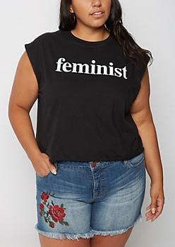 Plus Feminist Muscle Tank Top