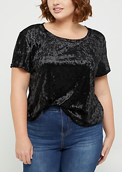 Plus Black Crushed Velvet Tee