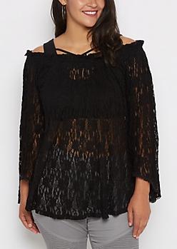 Plus Black Lace Off-Shoulder Shirt
