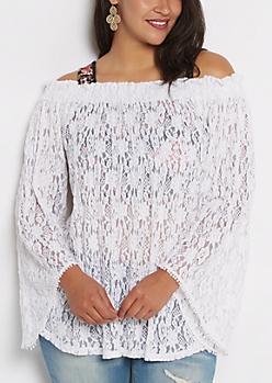 Plus White Lace Off-Shoulder Shirt