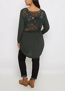 Plus Dark Green Floral Lace Back Shirt