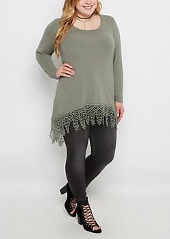 Plus Olive Falling Crochet Shirt