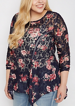 Plus Floral Lace Sharkbite Peplum Top