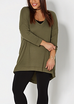 Plus Olive Green Ribbed Top