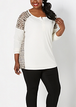 Plus Ivory Flocked Floral Lace Henley
