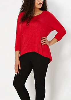 Plus Red Stone Surplice Back Top