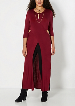 Plus Burgundy Cross-Front Duster