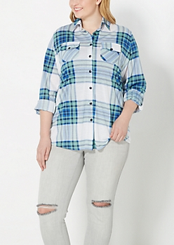Plus Green and White Plaid Shirt