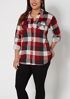 Plus Red Plaid Shirt