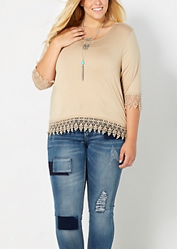 Taupe Plus Crochet Goddess Skimmer Top