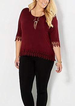 Burgundy Plus Crochet Goddess Skimmer Top
