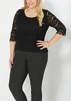 Plus Black Three-Quarter Sleeve Lace Top
