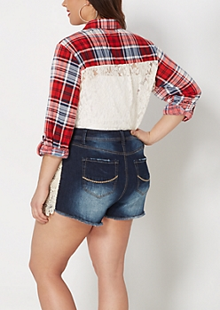 Plus Red Plaid Lace Back Inset Shirt