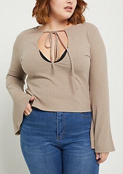 Plus Taupe Rib Knit Keyhole Shirt