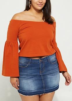 Plus Burnt Orange Bell Sleeve Off Shoulder Top