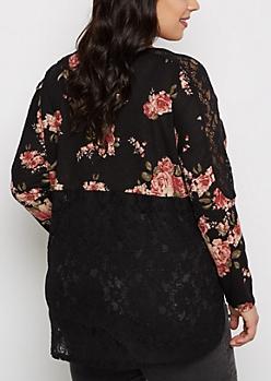 Plus Black Rose Crochet Back Knit Top