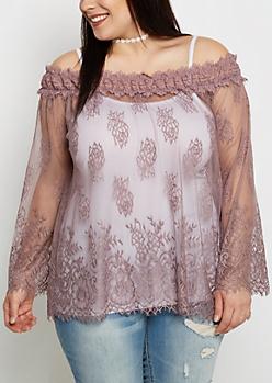 Plus Lavender Lace Off-Shoulder Top