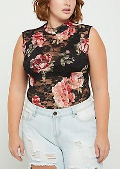 Plus Floral Lace Mock Neck Bodysuit