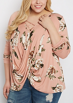 Plus Rosy Surplice Caged Top