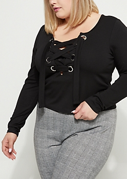 Plus Black Lace Up Grommet Shirt
