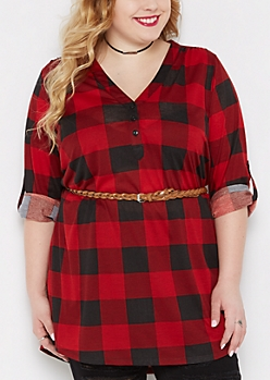 Plus Red Plaid Belted Tunic