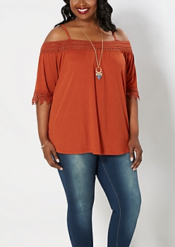 Plus Orange Crochet Cold Shoulder Top