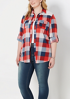 Plus Red Buffalo Plaid Laced Top
