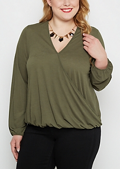 Plus Olive Surplice Blouse & Gem Necklace Set