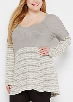 Plus Gray Striped High-Low Thermal Tunic