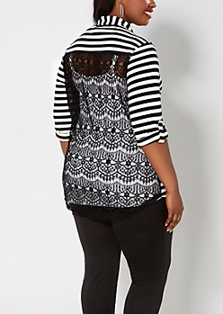 Plus Black Striped Lace Back Henley Top