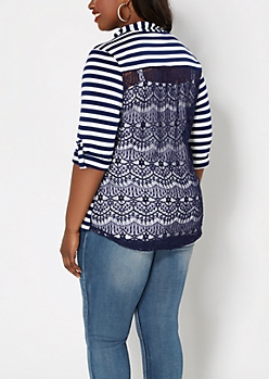 Plus Navy Striped Lace Back Henley Top